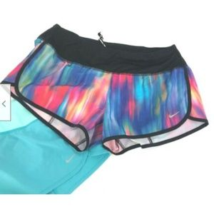 Nike Dry Fit Running Shorts Rainbow And Turquoise